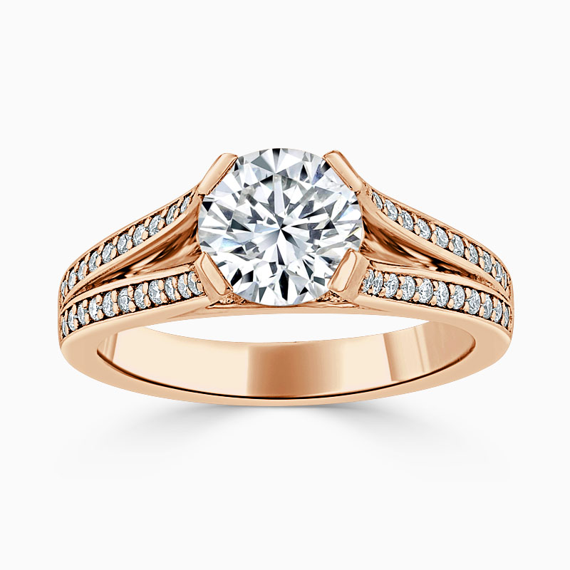 18ct Rose Gold Round Brilliant Pavé Split Shoulder Engagement Ring