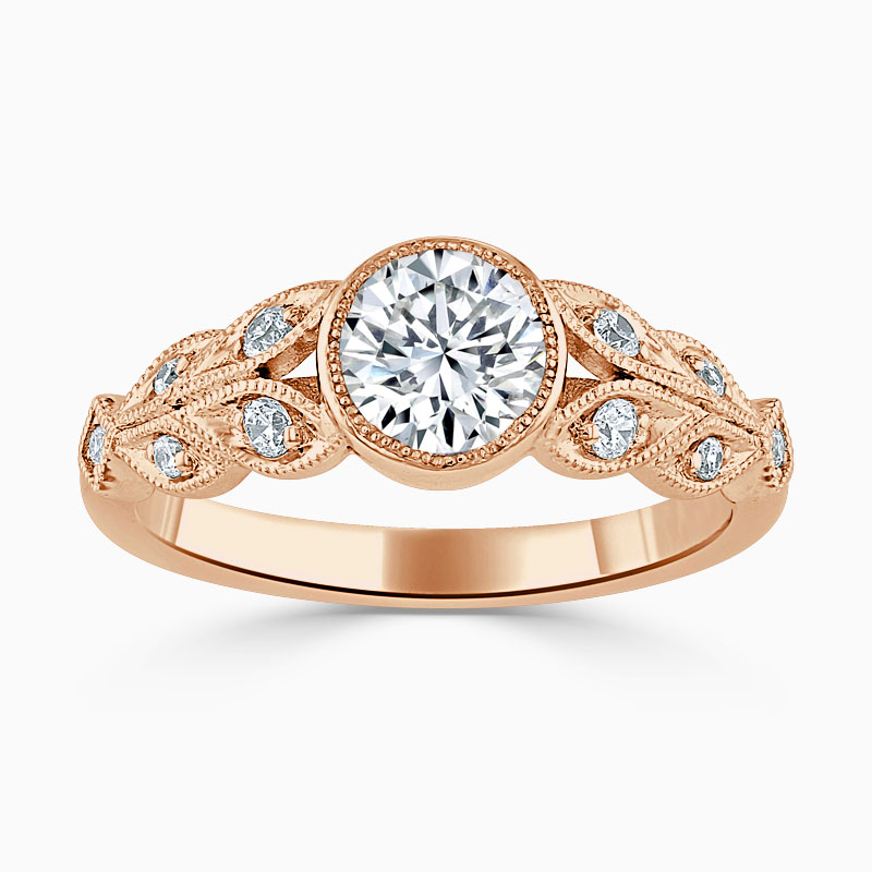 18ct Rose Gold Round Brilliant Rubover Milgrain Engagement Ring