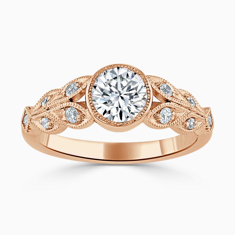 18ct Rose Gold Round Brilliant Rubover Milgrain Engagement Ring
