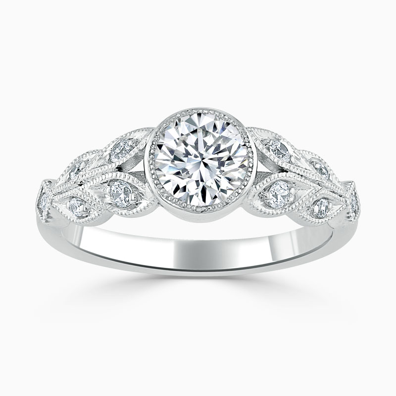 18ct White Gold Round Brilliant Rubover Milgrain Engagement Ring