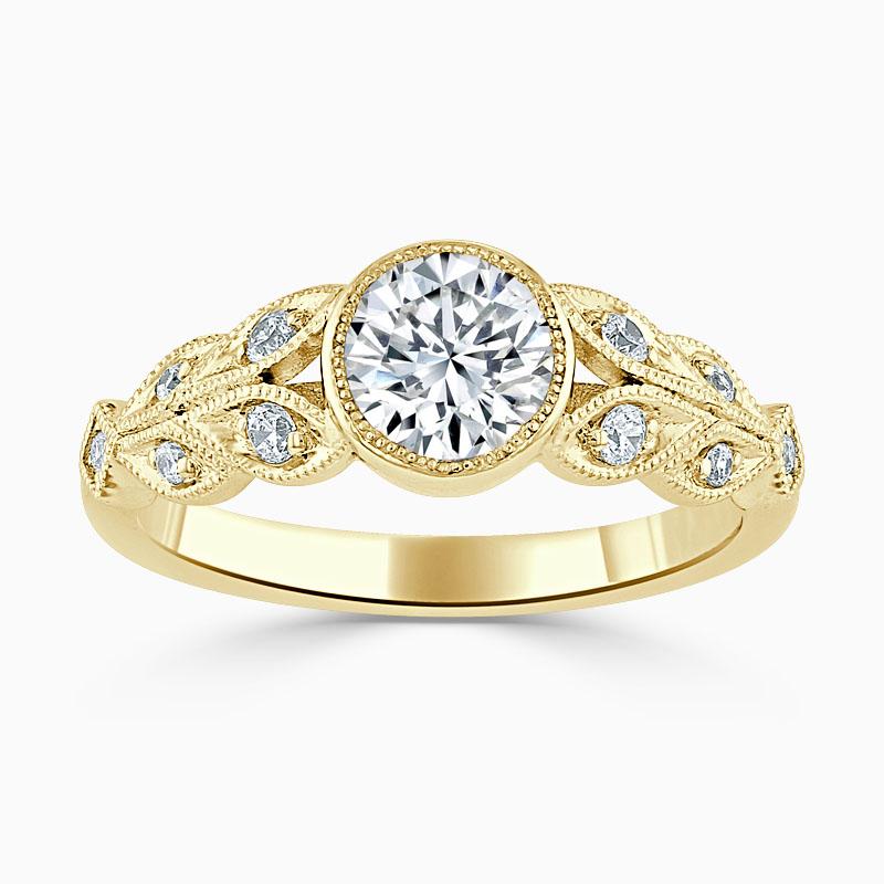 18ct Yellow Gold Round Brilliant Rubover Milgrain Engagement Ring
