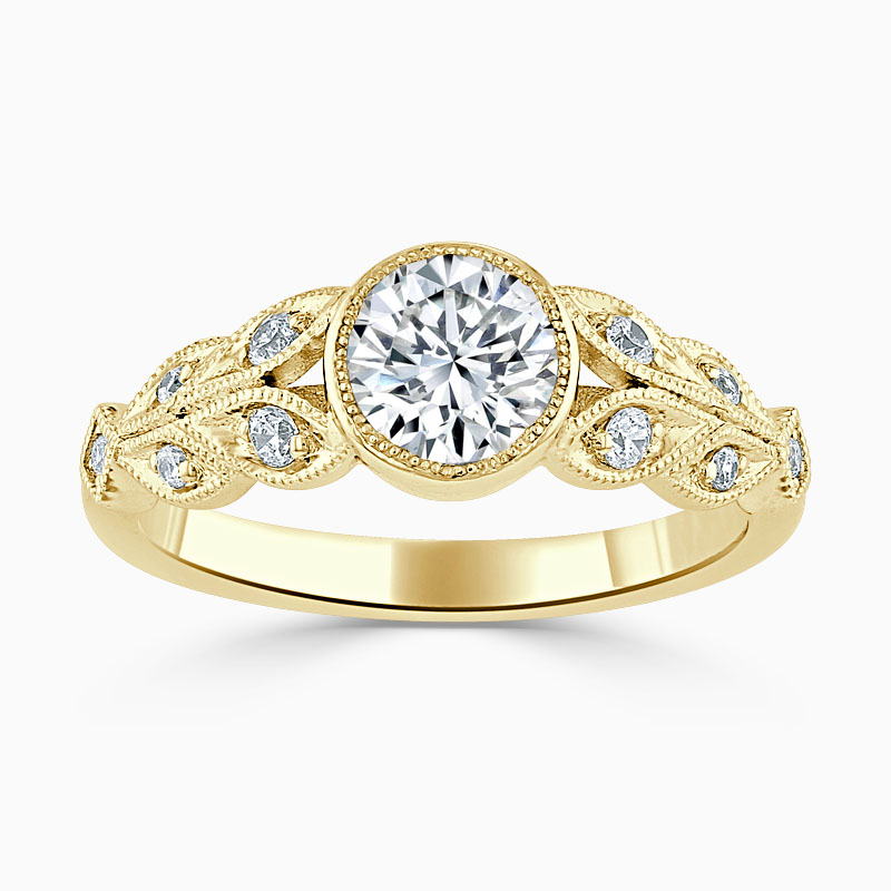 18ct Yellow Gold Round Brilliant Rubover Milgrain Engagement Ring