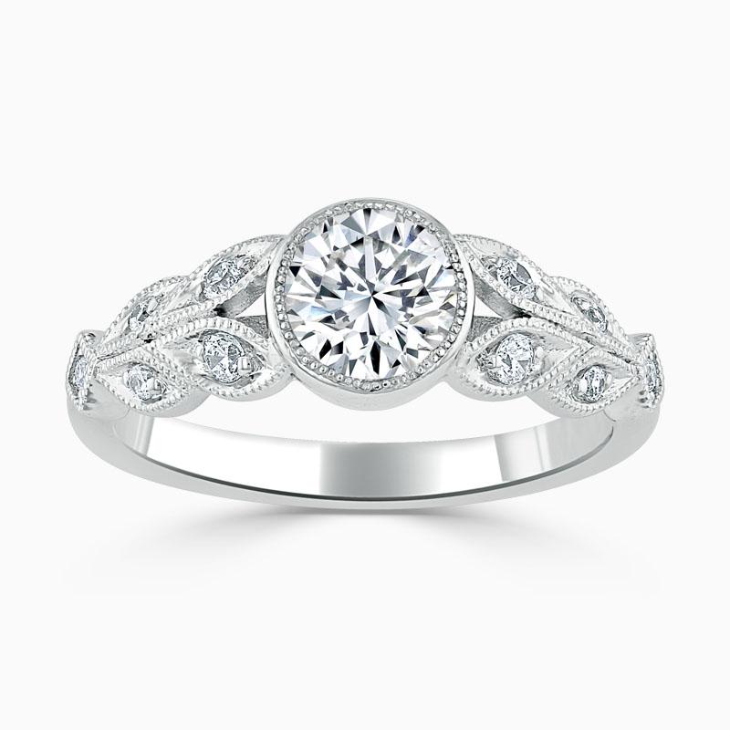 Platinum Round Brilliant Rubover Milgrain Engagement Ring