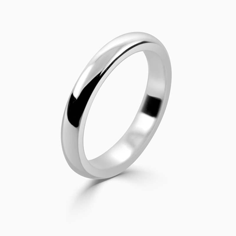 Palladium 3mm D Shape Heavy Weight Wedding Ring