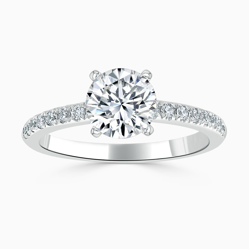 Platinum Round Brilliant Simplicity Cutdown Engagement Ring