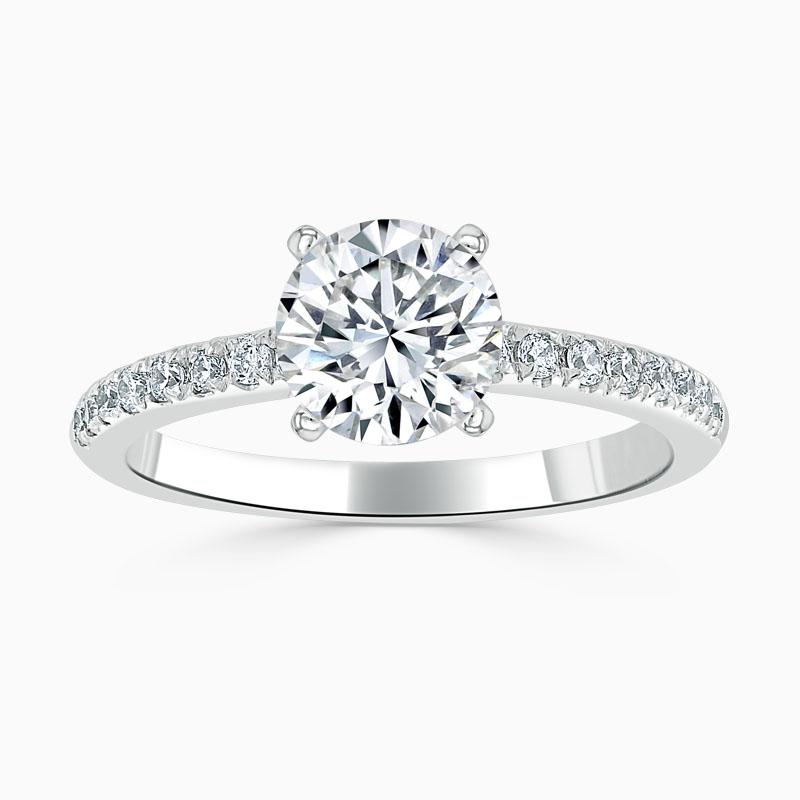 Platinum Round Brilliant Simplicity Cutdown Engagement Ring