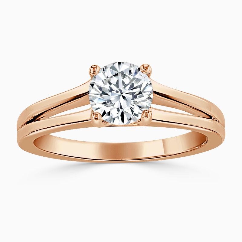 18ct Rose Gold Round Brilliant Split Shoulder Engagement Ring