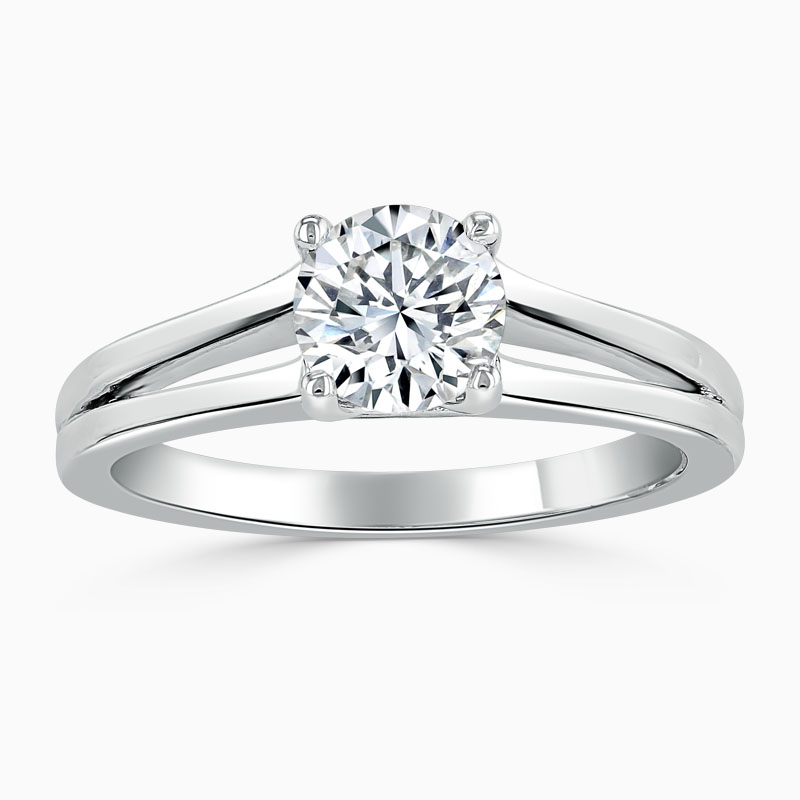 18ct White Gold Round Brilliant Split Shoulder Engagement Ring
