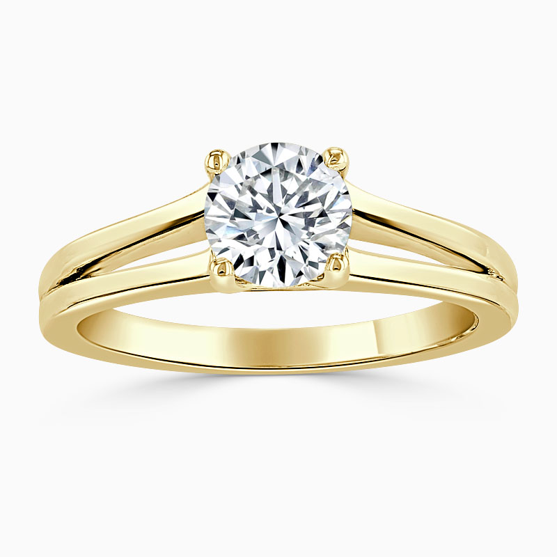 18ct Yellow Gold Round Brilliant Split Shoulder Engagement Ring