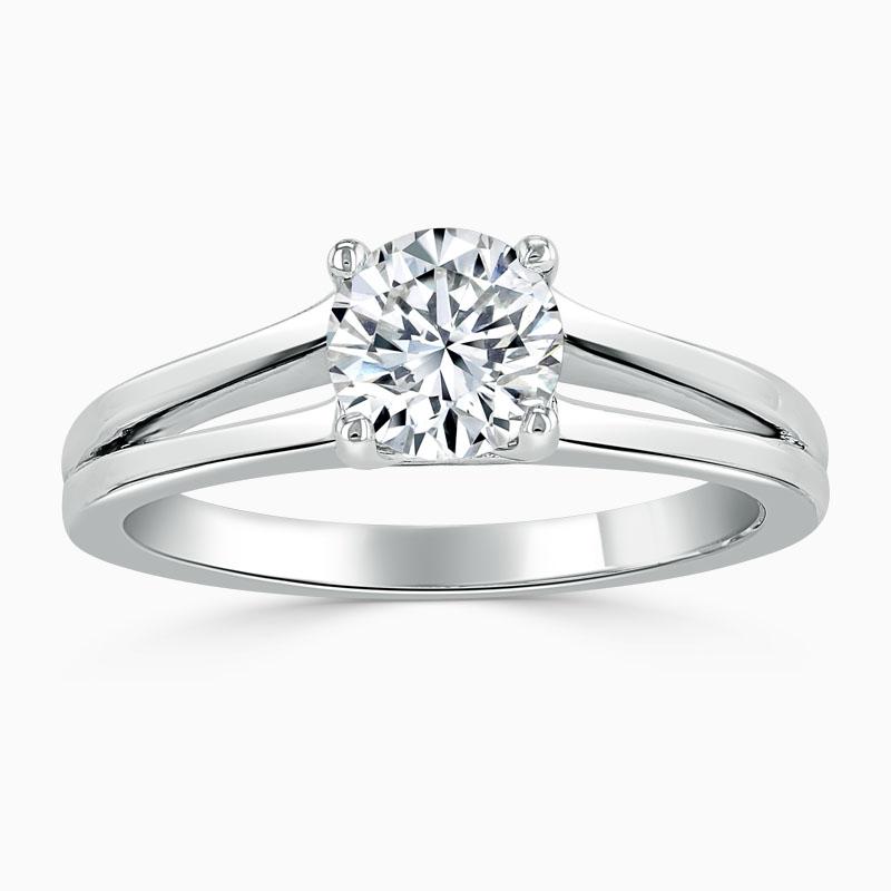 Platinum Round Brilliant Split Shoulder Engagement Ring