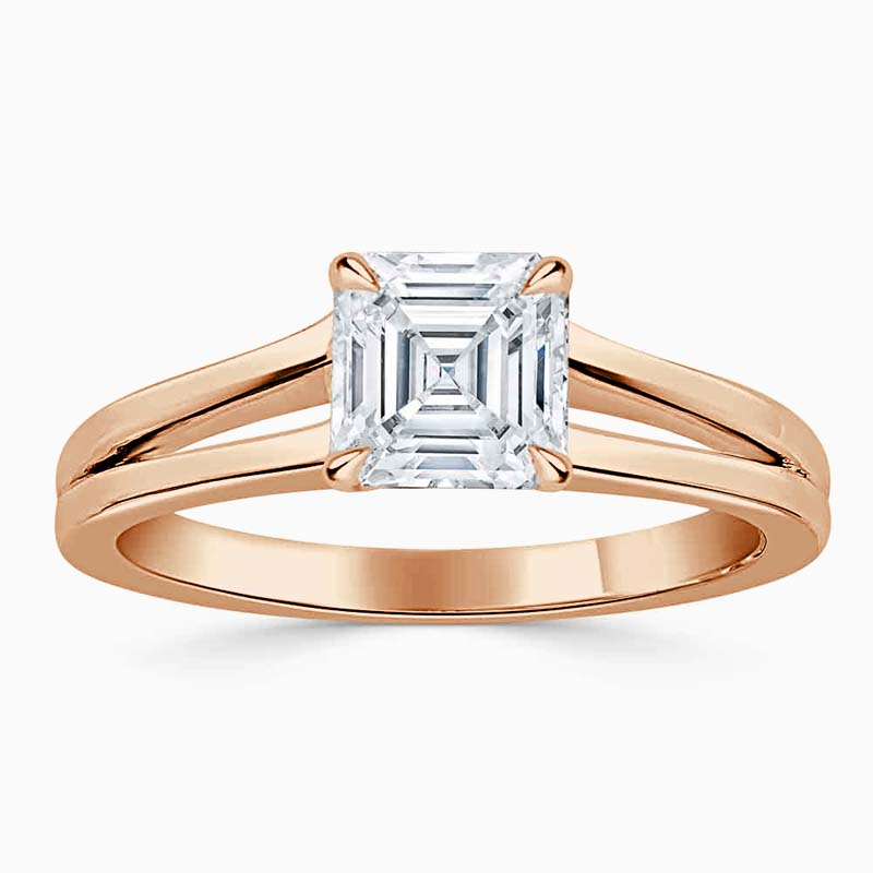 18ct Rose Gold Asscher Cut Split Shoulder Engagement Ring