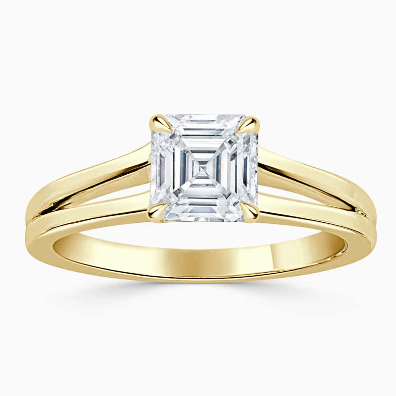 18ct Yellow Gold Asscher Cut Split Shoulder Engagement Ring