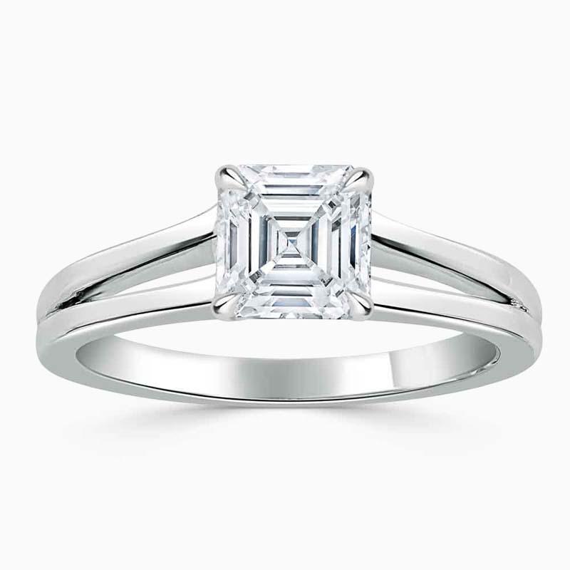 Platinum Asscher Cut Split Shoulder Engagement Ring