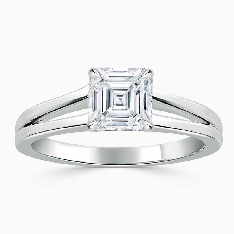 Platinum Asscher Cut Split Shoulder Engagement Ring