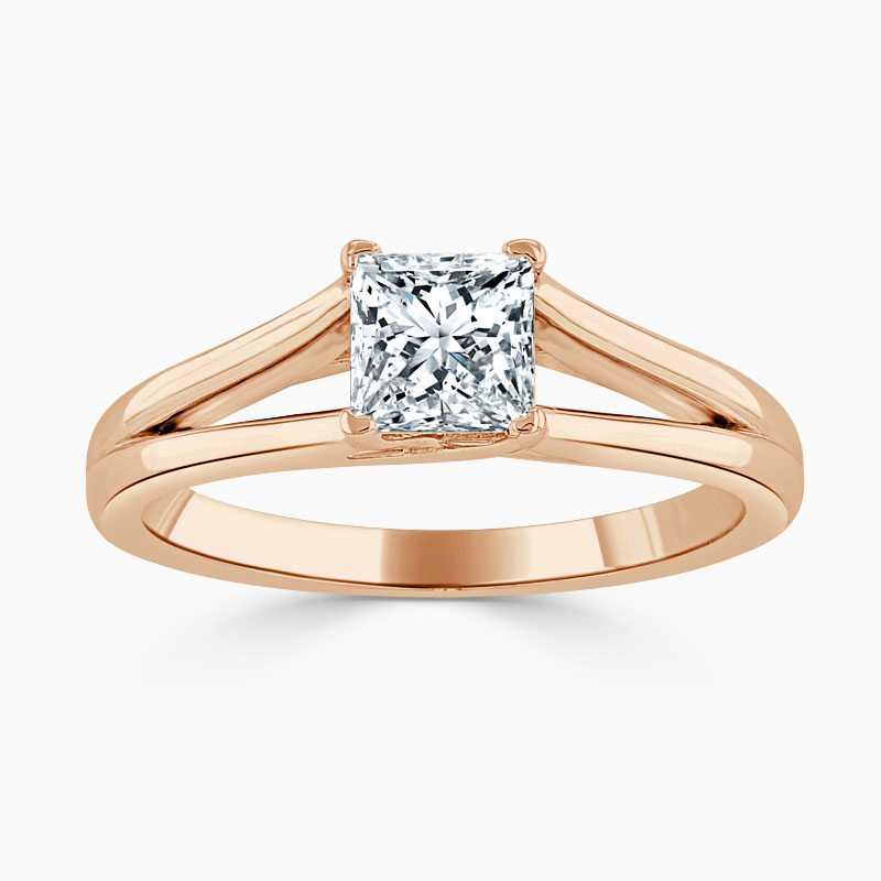18ct Rose Gold Princess Cut Split Shoulder Engagement Ring