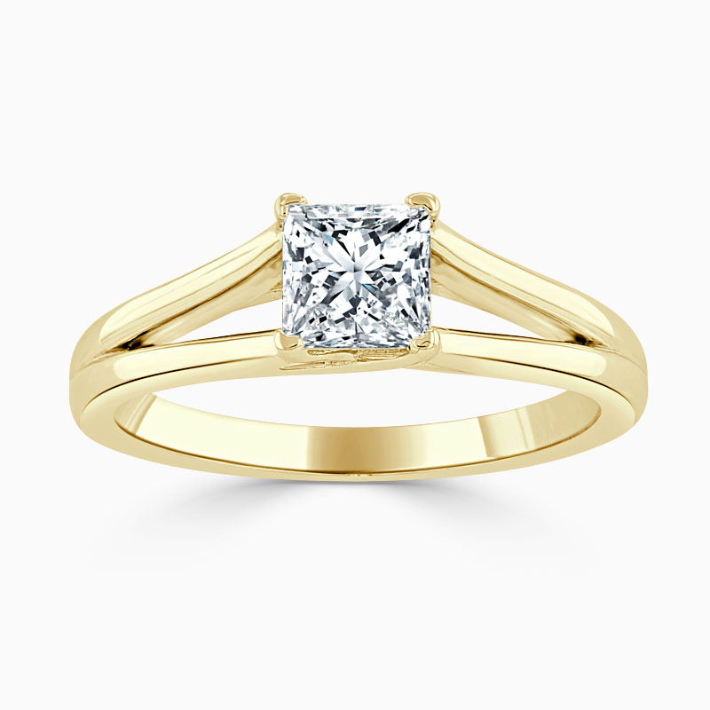 18ct Yellow Gold Princess Cut Split Shoulder Engagement Ring