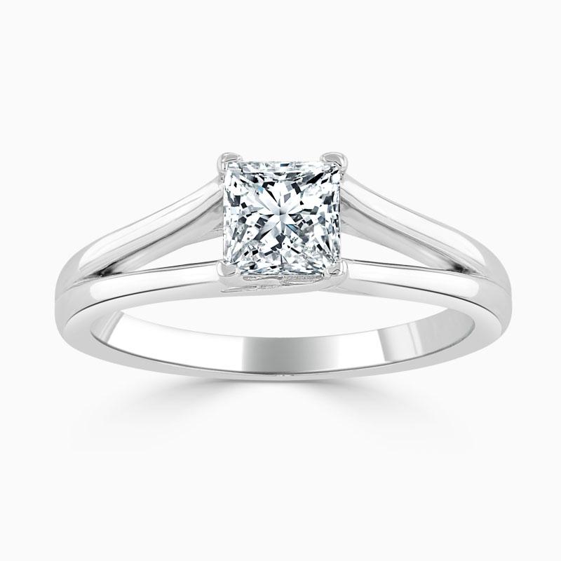 Platinum Princess Cut Split Shoulder Engagement Ring