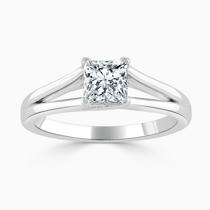 Platinum Princess Cut Split Shoulder Engagement Ring