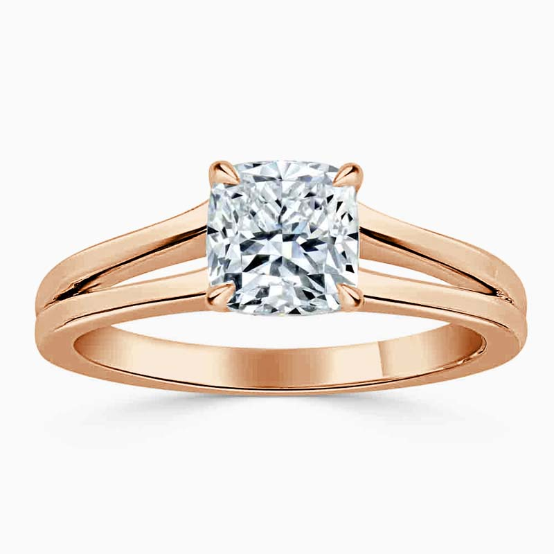 18ct Rose Gold Cushion Cut Split Shoulder Engagement Ring