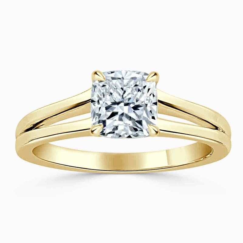 18ct Yellow Gold Cushion Cut Split Shoulder Engagement Ring