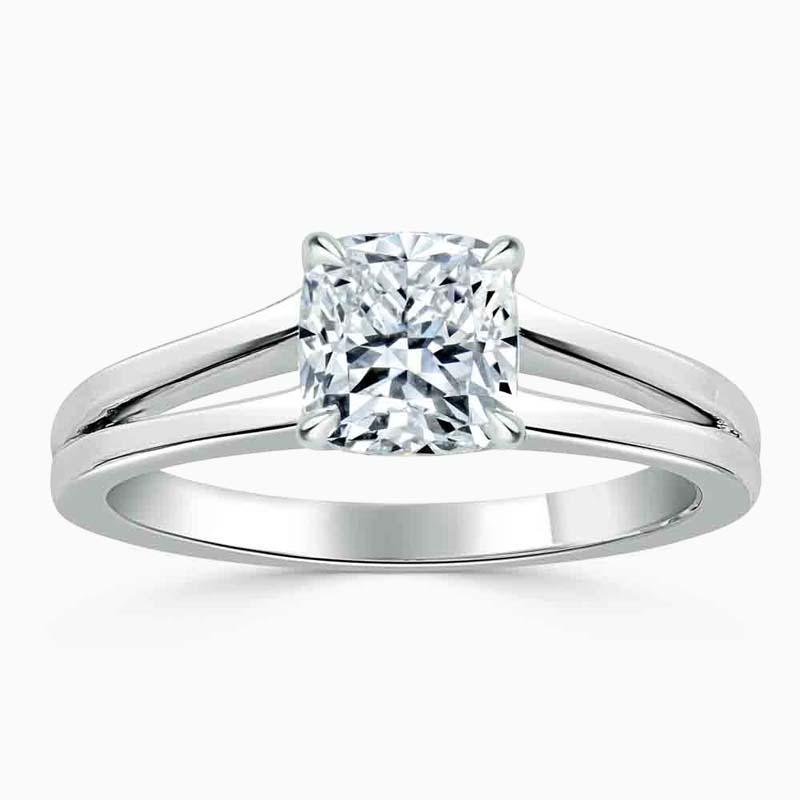 Platinum Cushion Cut Split Shoulder Engagement Ring