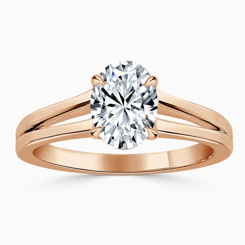 18ct Rose Gold Oval Shape Split Shoulder Engagement Ring