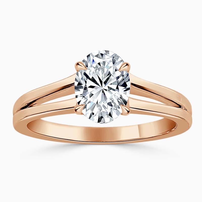 18ct Rose Gold Oval Shape Split Shoulder Engagement Ring