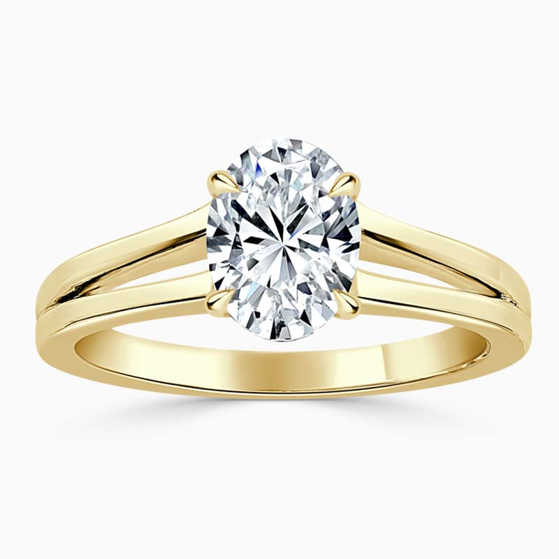 18ct Yellow Gold Oval Shape Split Shoulder Engagement Ring