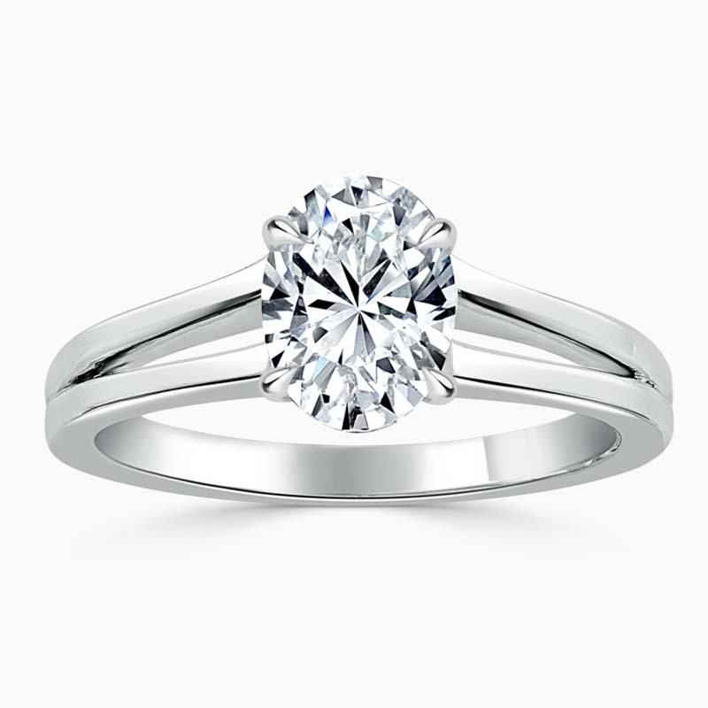 Platinum Oval Shape Split Shoulder Engagement Ring