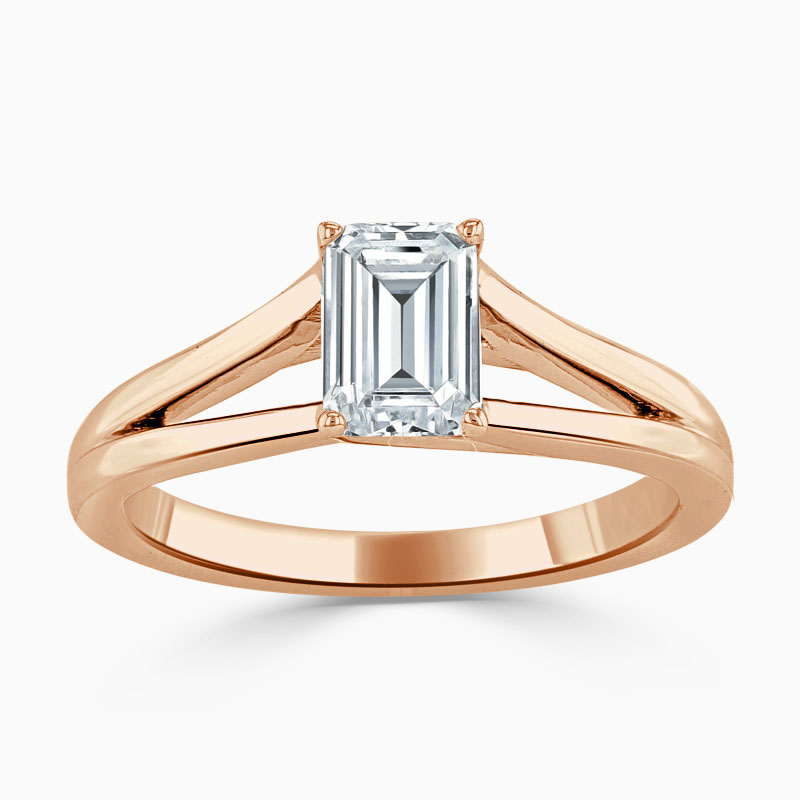 18ct Rose Gold Emerald Cut Split Shoulder Engagement Ring