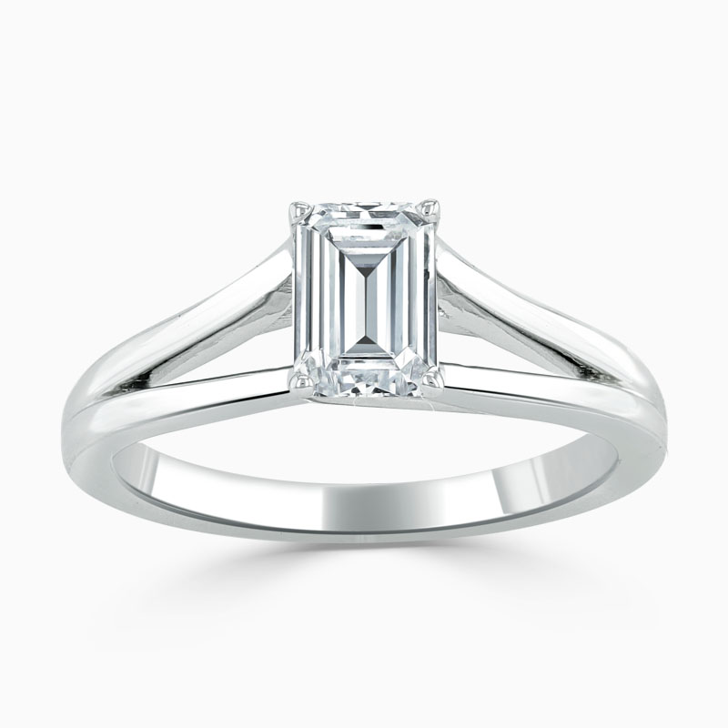 18ct White Gold Emerald Cut Split Shoulder Engagement Ring