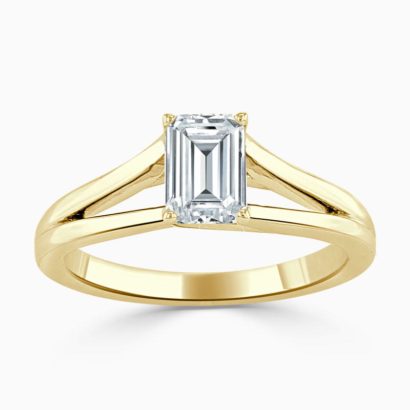 18ct Yellow Gold Emerald Cut Split Shoulder Engagement Ring
