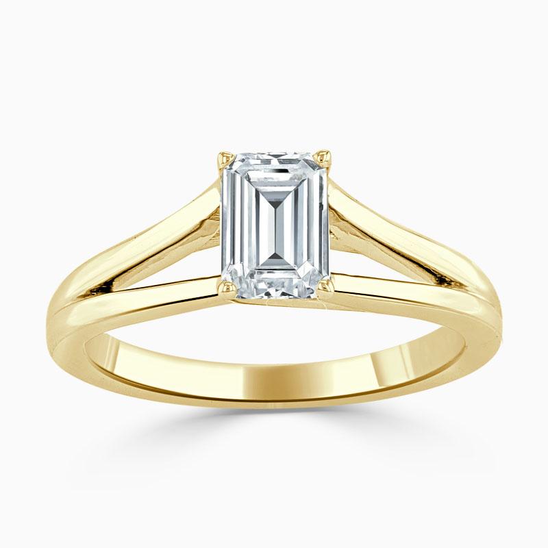 18ct Yellow Gold Emerald Cut Split Shoulder Engagement Ring