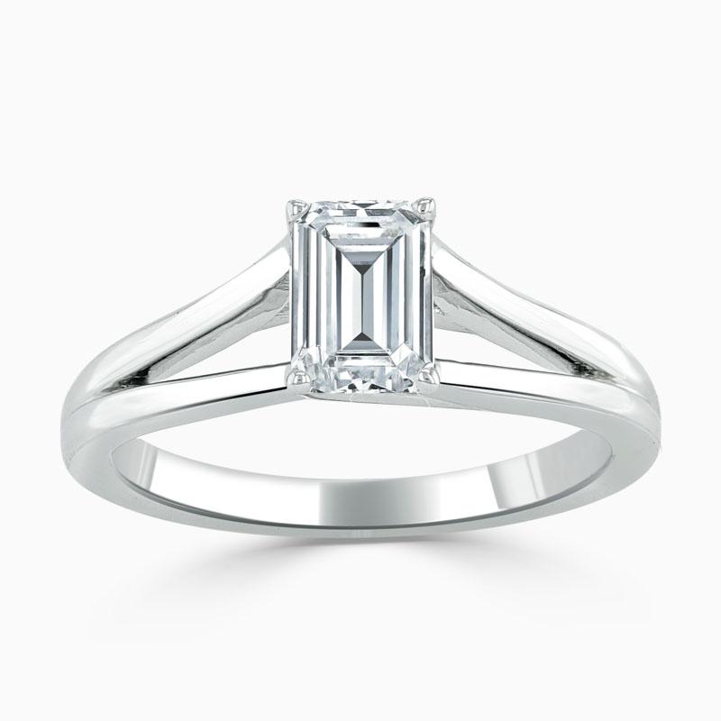Platinum Emerald Cut Split Shoulder Engagement Ring