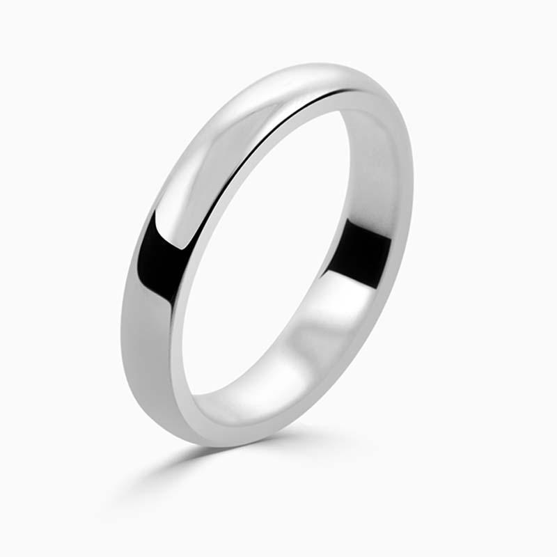 Platinum 3mm D Shape Medium Weight Wedding Ring