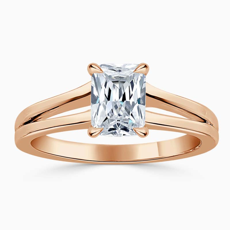 18ct Rose Gold Radiant Cut Split Shoulder Engagement Ring