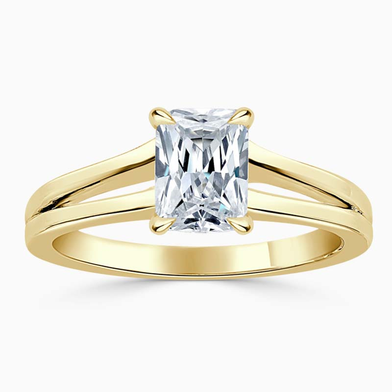 18ct Yellow Gold Radiant Cut Split Shoulder Engagement Ring