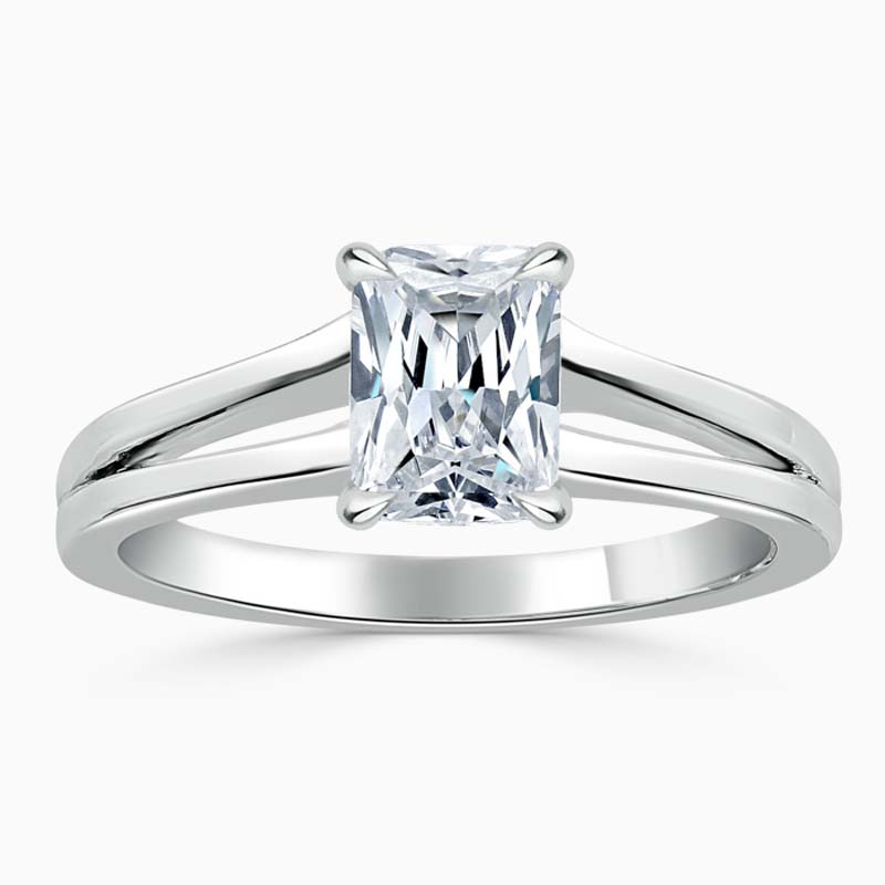 Platinum Radiant Cut Split Shoulder Engagement Ring
