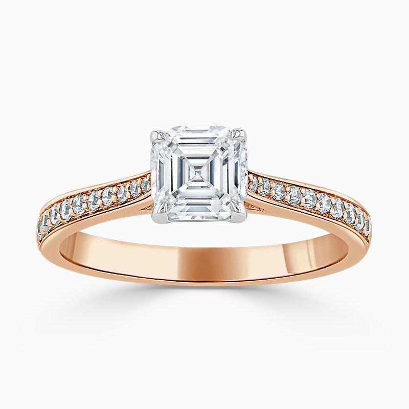 18ct Rose Gold Asscher Cut Tapered Pavé Engagement Ring