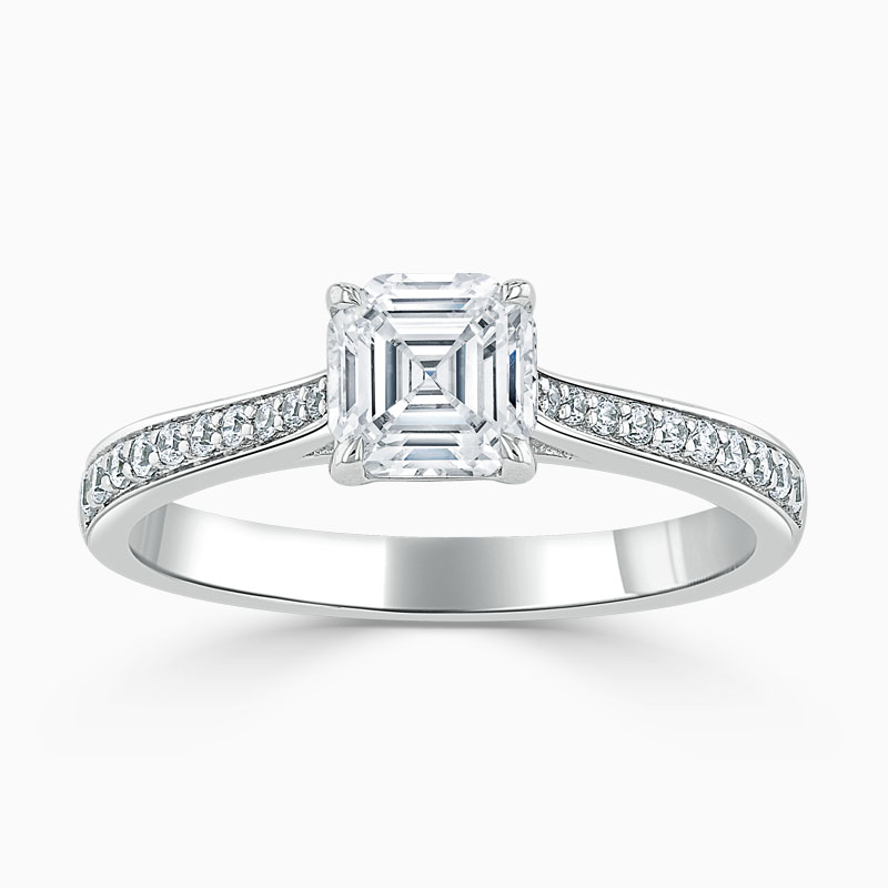 18ct White Gold Asscher Cut Tapered Pavé Engagement Ring