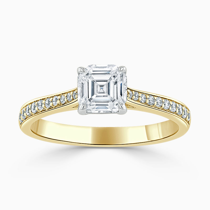 18ct Yellow Gold Asscher Cut Tapered Pavé Engagement Ring
