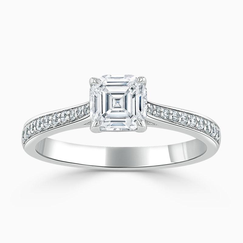 Platinum Asscher Cut Tapered Pavé Engagement Ring