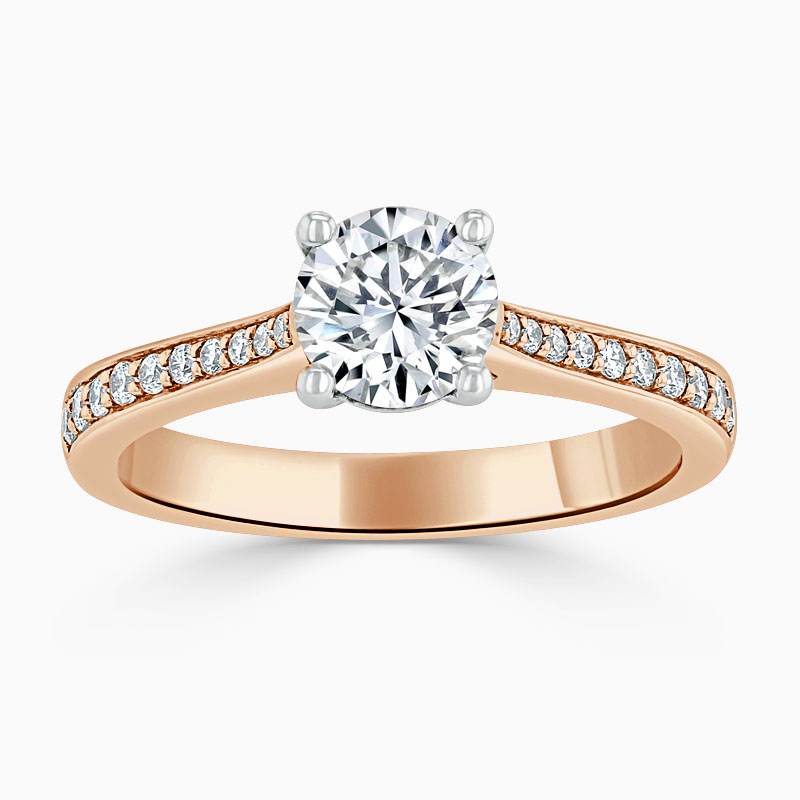 18ct Rose Gold Round Brilliant Tapered Pavé Engagement Ring