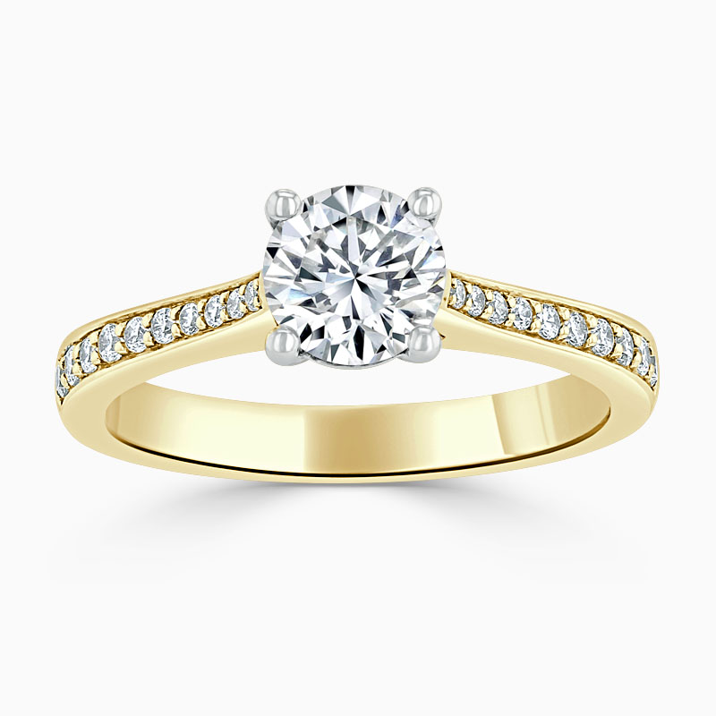 18ct Yellow Gold Round Brilliant Tapered Pavé Engagement Ring