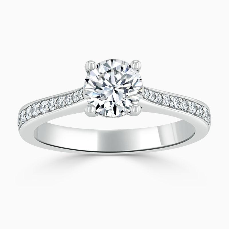 Platinum Round Brilliant Tapered Pavé Engagement Ring