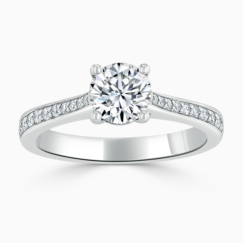 Platinum Round Brilliant Tapered Pavé Engagement Ring