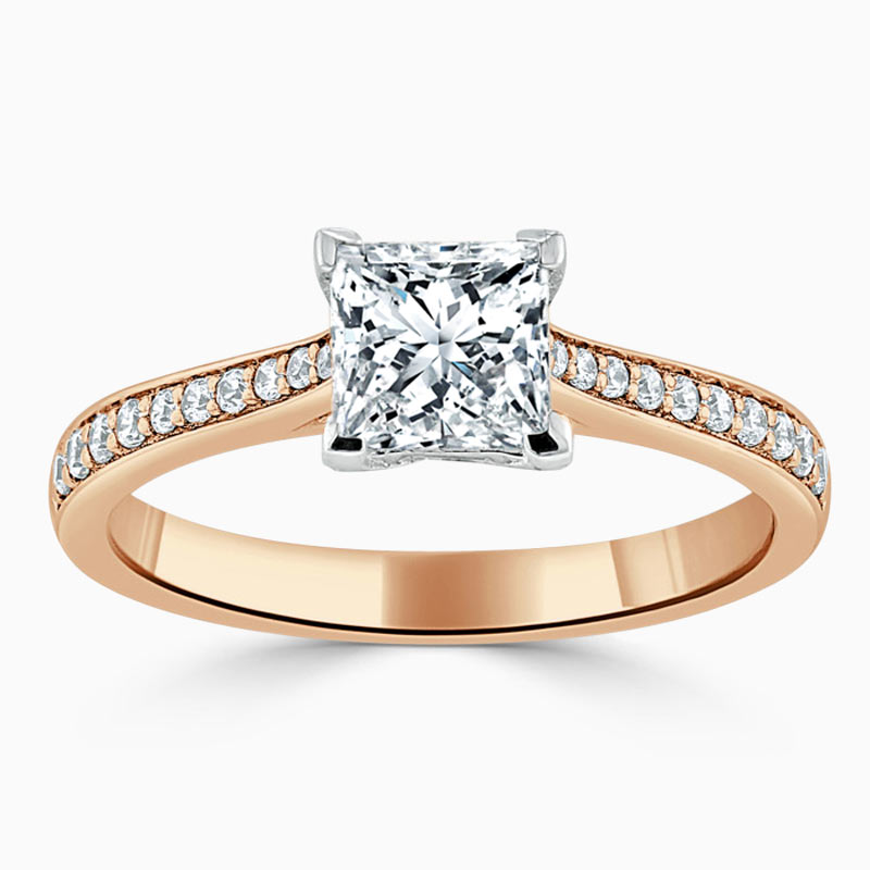 18ct Rose Gold Princess Cut Tapered Pavé Engagement Ring