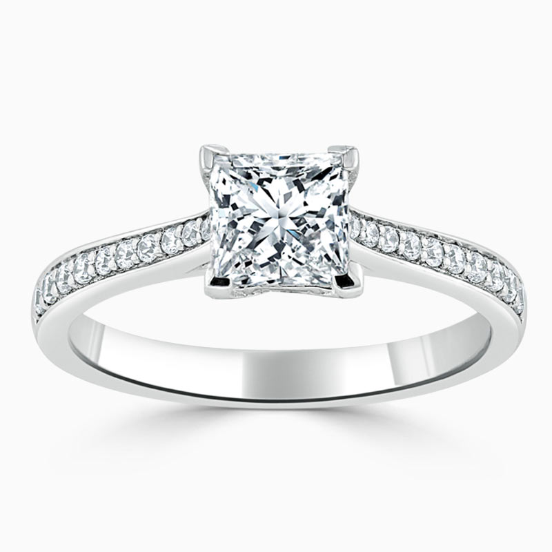 18ct White Gold Princess Cut Tapered Pavé Engagement Ring