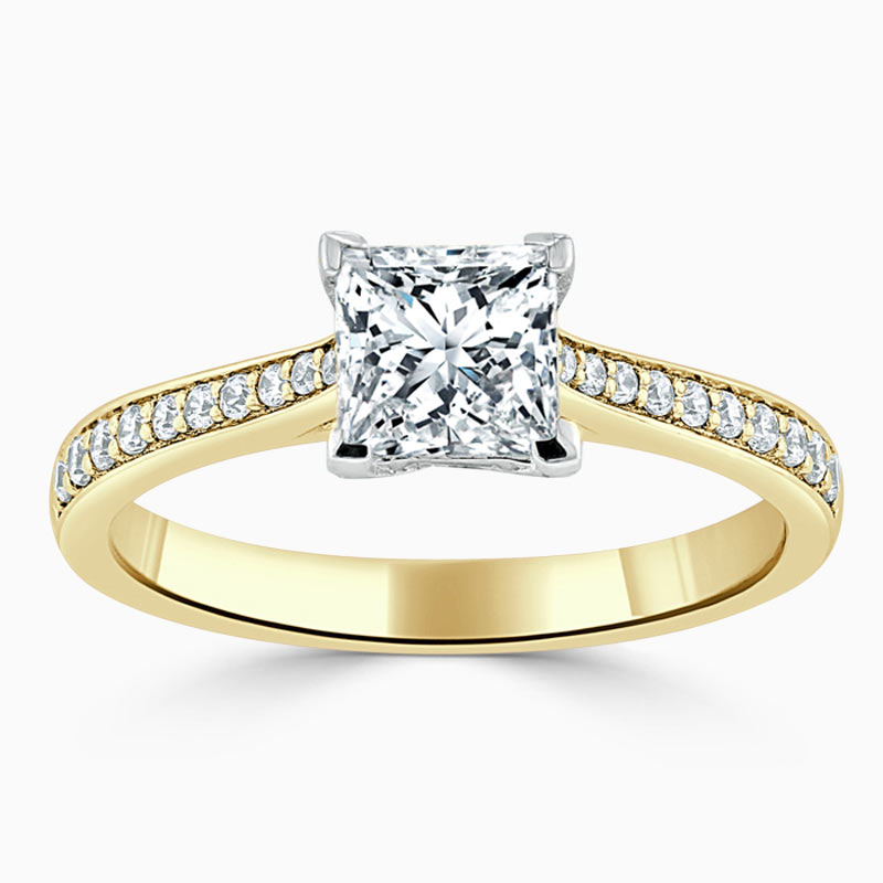 18ct Yellow Gold Princess Cut Tapered Pavé Engagement Ring