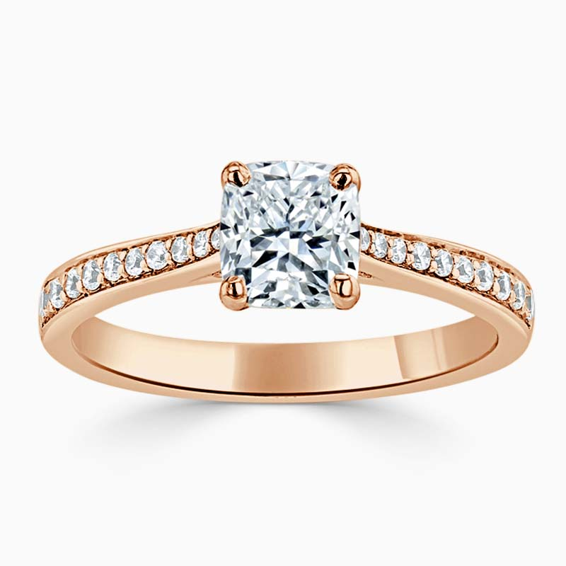 18ct Rose Gold Cushion Cut Tapered Pavé Engagement Ring